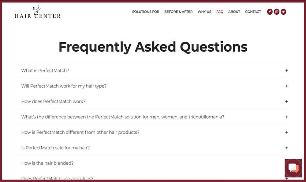 Eighty6 Portfolio - NJ Hair Center New Website